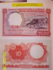 Malaysia 1961 10 Dollars Bank Note