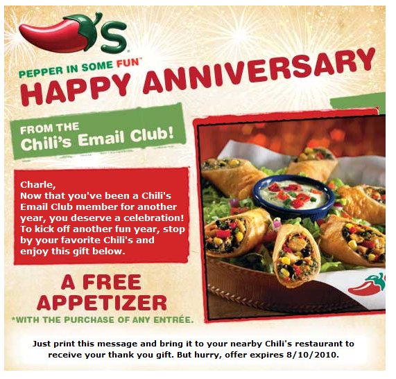 The magic of coupons free appetizer chili 39 s with the - Olive garden westminster maryland ...