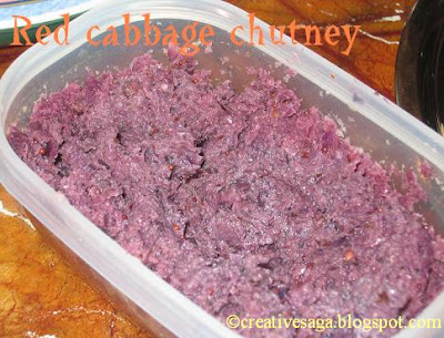 red cabbage chutney/thuvayal
