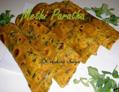 methi parata/fenugreek leaves paratha