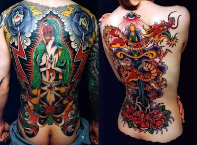 Absolute back body man and girl tattoo art