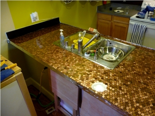 Cupboards kitchen and bath penny for your tops for Copper penny bar top