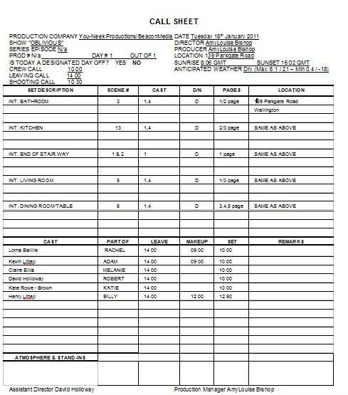 Production Call Sheet Template