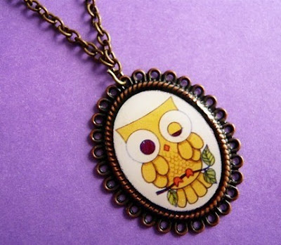 kawaii yellow owl necklace from etsy