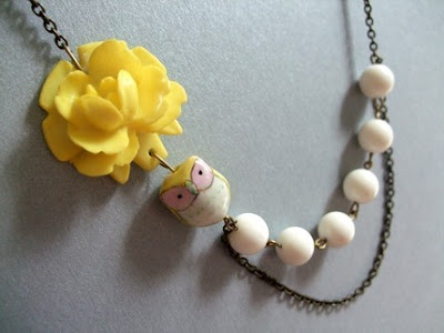 owl and yellow flower necklace from etsy