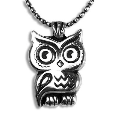 sliver owl pendant necklace from etsy