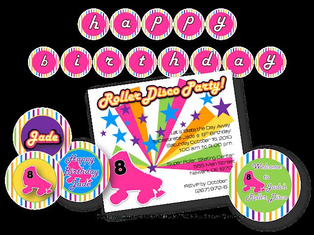 Roller Disco Invitations with beautiful invitation template