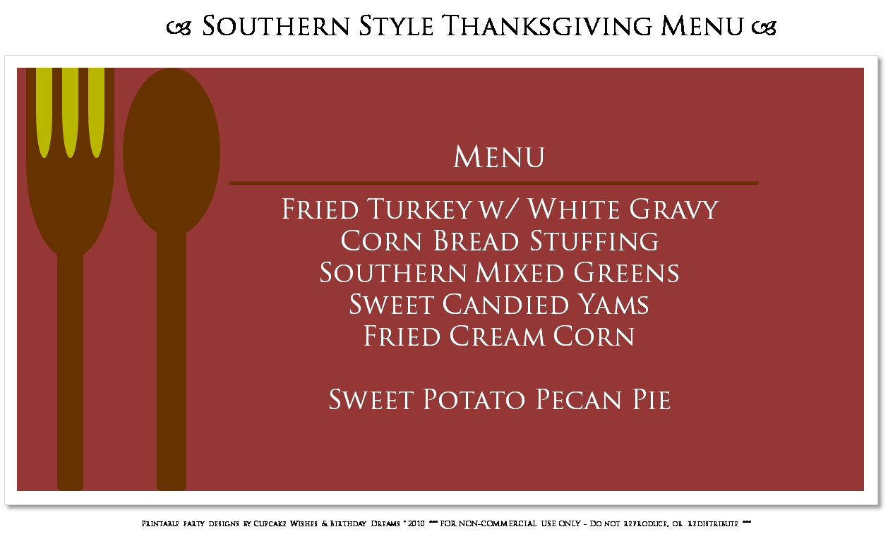 Cupcake wishes birthday dreams casual thanksgiving menus for Traditional southern thanksgiving dinner menu