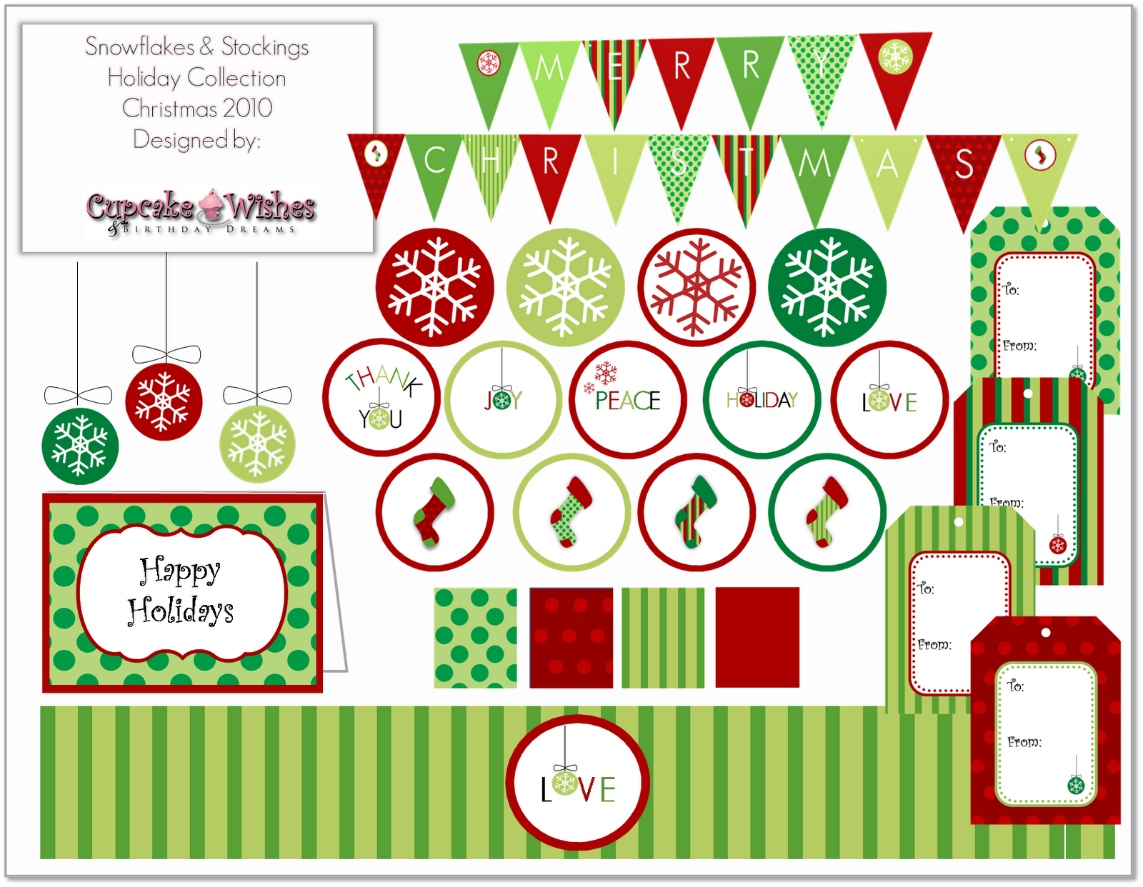 Cupcake Wishes & Birthday Dreams FREE PRINTABLE Snowflakes & Stockings Christmas Colletion 2010