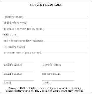 Cars Bill Of Sale Printable 12 7 08 12 14 08