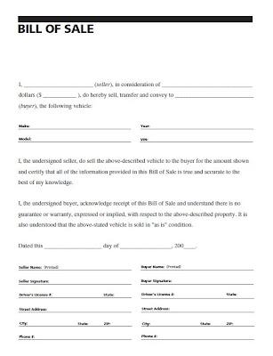 vehicle bill of sale doc