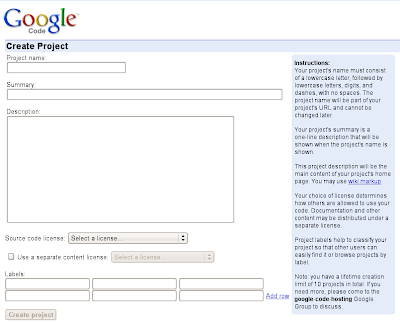 Google code create project page