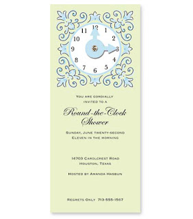 From my wedding to yours around the clock bridal shower jewel clock on green slimline invite filmwisefo