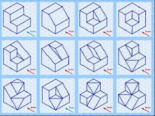 De ejercicios de perspectiva isométrica de figuras derivadas de un