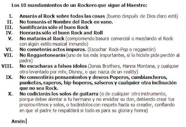 Los 10 Mandamientos de Un Rockero