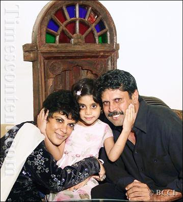 Kapil Dev with wife Romi Dev and daughter Amiya Dev