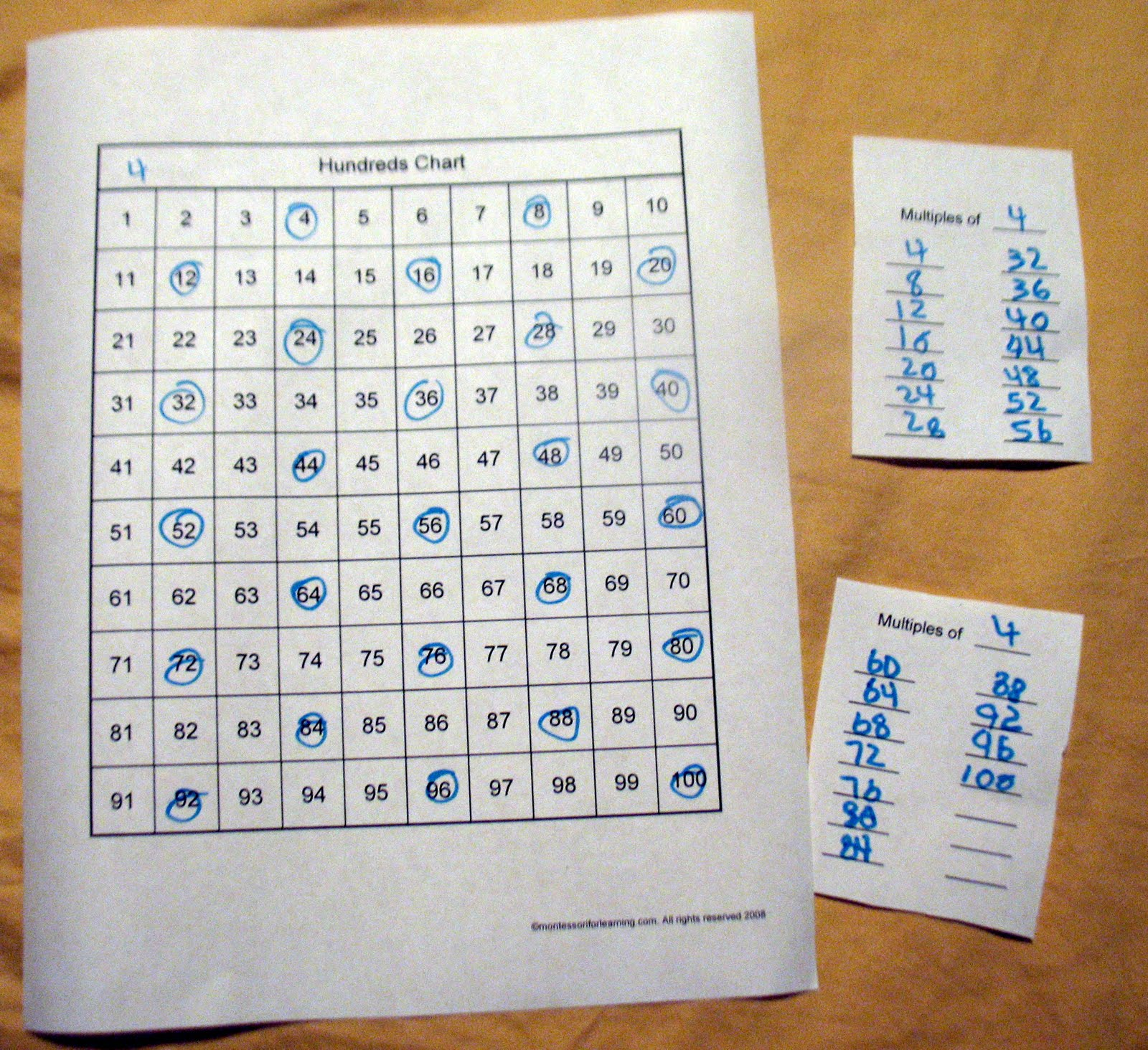 Montessori for learning multiples on number chart multonchartg nvjuhfo Gallery