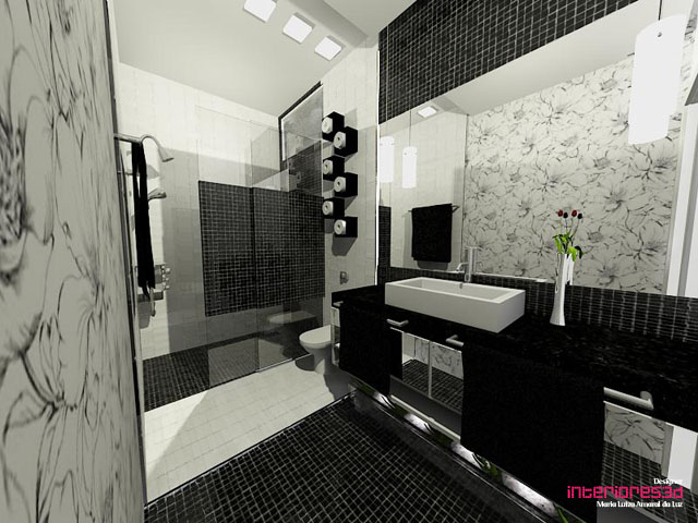 Hoje em Casa -> Decoracao De Banheiro Preto E Branco Com Pastilhas