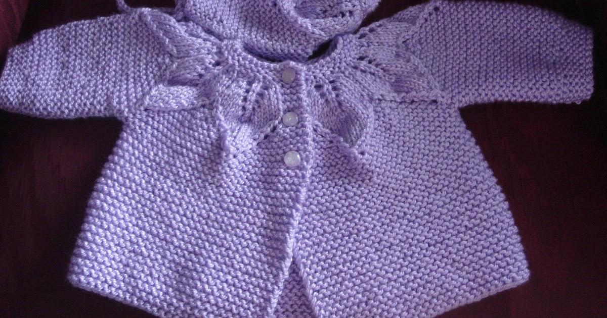 Knit Leaf Pattern Baby Sweater : tmarieknits: Leaf Pattern Sweater Set