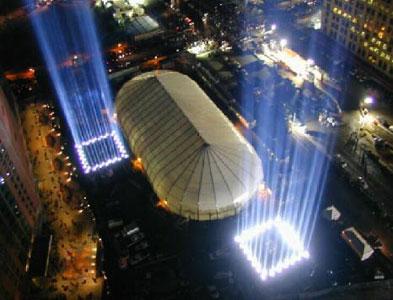 Na atualidade refletores simbolizam os prédios