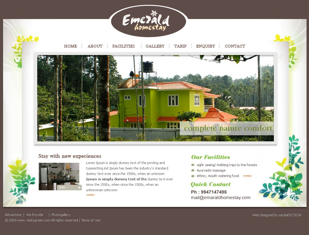 Mediadiction web design for a homestay in wayanad web for Design homestay