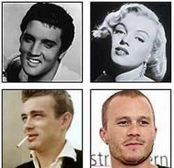 Elvis Presley-<br />Marilyn Monroe-Jim Morrison-James Dean-Heath Ledger