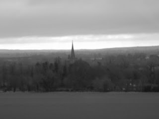 church spire in distance