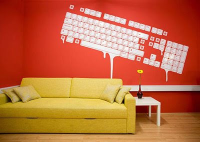 House Design Keyboard Wall Graphics Interior Design