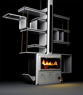 A Fireplace, A Stove and A Shelving System in Living Room