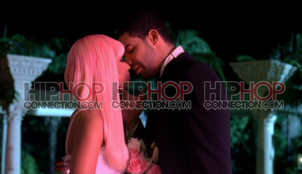 Nicki Minaj and Drake aka Harajuku Barbie and Ken lean in for the big kiss