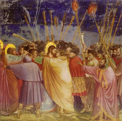 Le baiser de Judas, Giotto,début XIVème siècle, fresques de l' Arena, Padoue, Italie Ce tableau représente l' arrestation de Jésus de Nazareth aux jardins de Gethsémani, plus particulièrement la scène de la trahison de Judas. En effet , Judas aurait dénoncé Jésus de Nazareth aux prêtres du Temple et aux Romains, convenant avec eux de donner un baiser à Jésus lors de l' arrestation pour que les soldats puissent le distinguer des autres hommes en présence. Judas est ici, comme souvent dans l'iconographie traditionelle, représenté vêtu d'un manteau jaune, qui est la couleur traditionnelle en Occident pour représenter la trahison, la lâcheté. Nous pouvons noter que contrairement à Jésus de Nazareth, il n'a pas d'auréole dorée, car bien qu'il soit un apôtre, il est considéré comme renégât. L'autre personnage portant une auréole est Simon/Pierre. Il tente de blesser un Romain avec son poignard, ce que Jésus de Nazareth lui aurait reproché par la suite. Attention ! Cet évènement n'est pas confirmé dans ses détails par d'autres sources que les Evangiles. Cette représentation n'est donc pas à prendre au pied de la lettre, elle n'a pas valeur de témoignage historique. C'est simplement une vision chrétienne de l' arrestation de Jésus de Nazareth au XIVème siècle ! Giotto est un peintre italien qui a vécu aux XIII-XIVème siècles : la puissance créatrice de ses oeuvres, son utilisation de la perspective et des couleurs vont initier la Renaissance dans la peinture. --- Blog des classes de Seconde B et D, cours d'Histoire -Géographie du lycée Van der Meersch de Roubaix