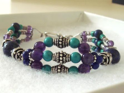Egyptian Bracelet with Lapis Lazuli, Amethyst, Turquoise & Silver