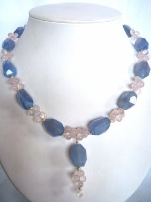 Blue Chalcedony & Rose Quartz Necklace