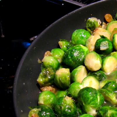 Brussels Sprouts With Bacon And Raisins Recipe — Dishmaps