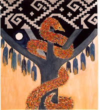 Feathered Serpent climbs the Tree of Life--First Fruits (corn)