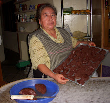 "My dear friend Alicia with homemade chocolate at her restuarant ""El Descanso"" in Teotitlan."