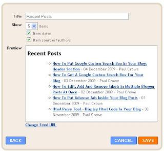 feed widget blog