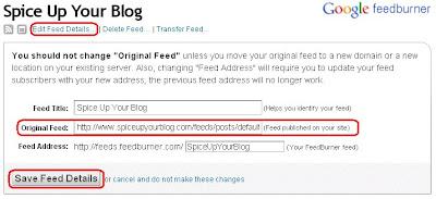 change feedburner settings