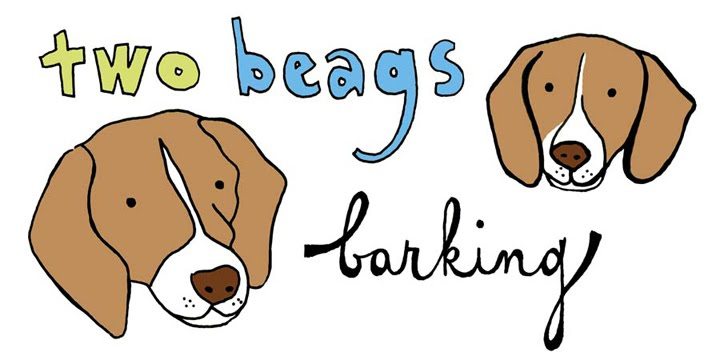 two beags barking