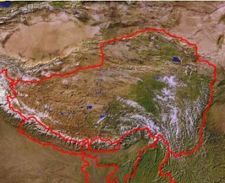 Map of the whole of traditional, independent Tibet. Tibet / Tibetan Plateau as seen from space - The Traditional Homeland of the Tibetan People