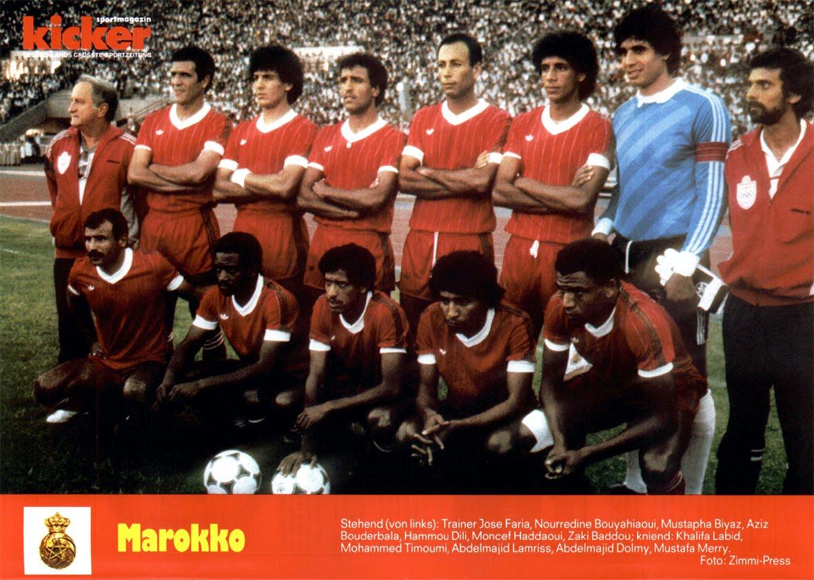 équipe du Maroc qualifiée pour Mexico 86.
