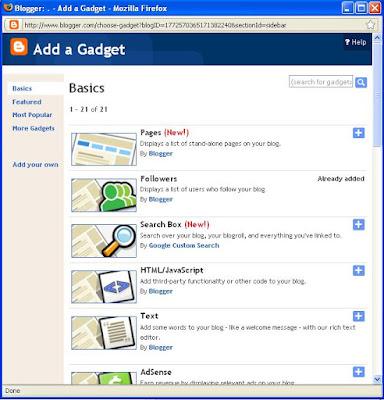 cara membuat widget pada blogspot