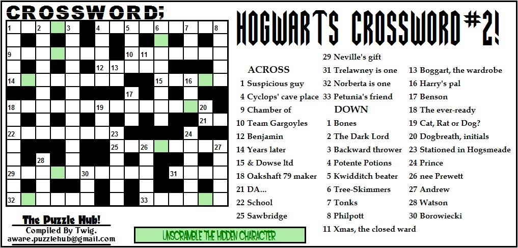 graphic relating to Harry Potter Crossword Puzzle Printable called The Puzzle Hub: Crossword; Hogwarts Crossword #2!