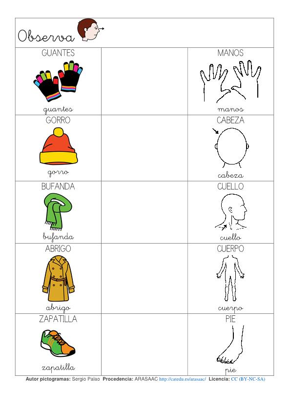 vocabulario de las prendas de vestir en invierno y relacionarlas con ...