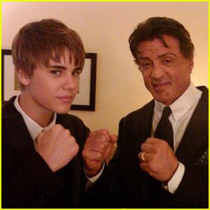 Justin Bieber et Sylvester Stallone Just peoples