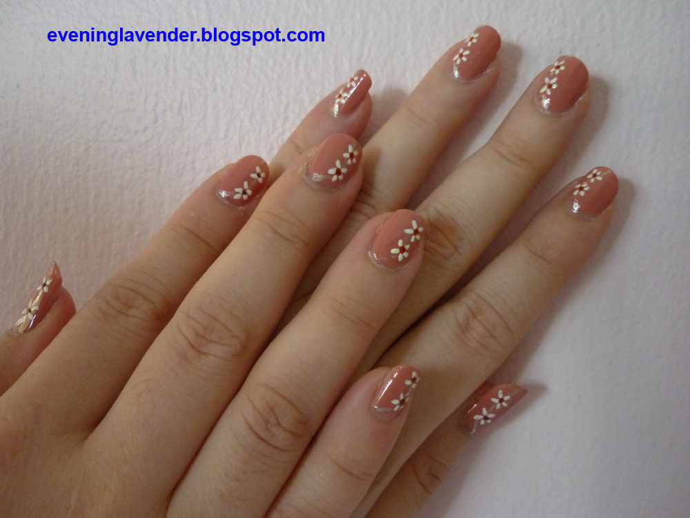 Evening Lavender Floral Nail Art Design Lav 015