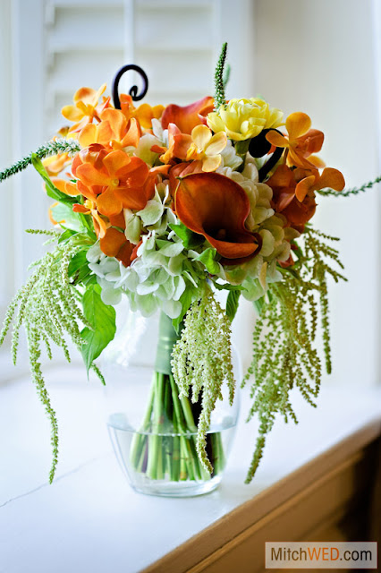 Orchid and Calla Bridesmaid Bouquet - Orange and Yellow - Splendid Stems Floral Designs - Otesaga Resort