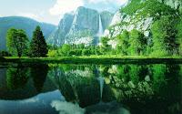 waterfall mountain reflection