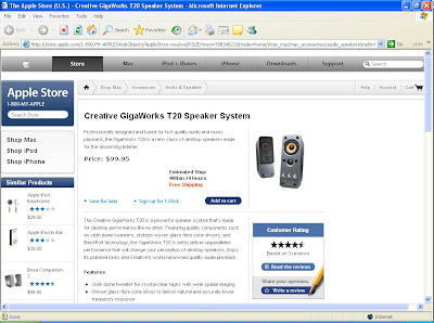 Creative GigaWorks T20 Speaker System @ Apple Store
