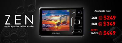 Creative ZEN 4GB 8GB 16GB